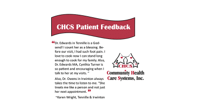 CHCS Patient Feedback from Karen Wright